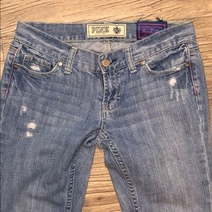 PINK Victoria's Secret Distressed Bootcut Jeans